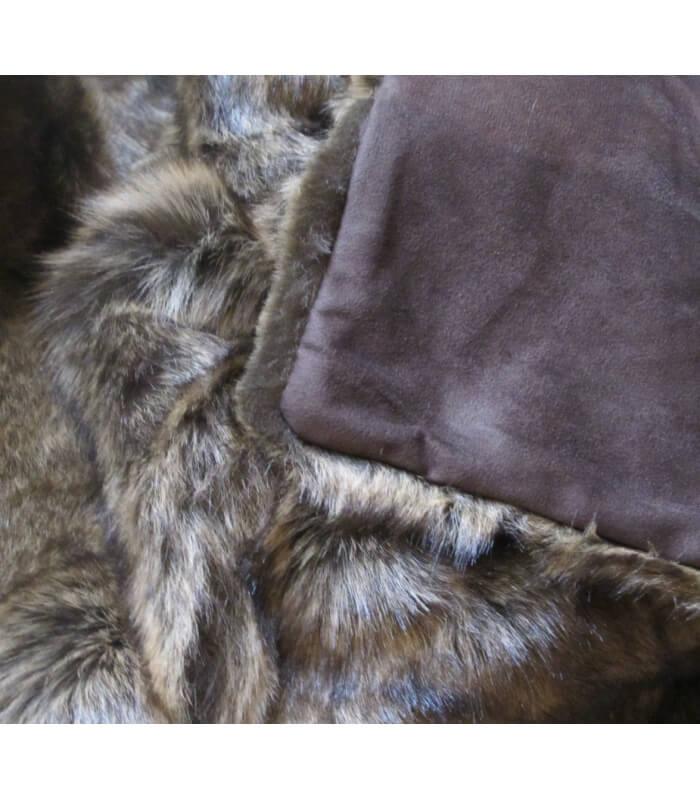 Plaid fausse fourrure marron 150 x 170 cm plaid addict - Plaid fausse fourrure ...