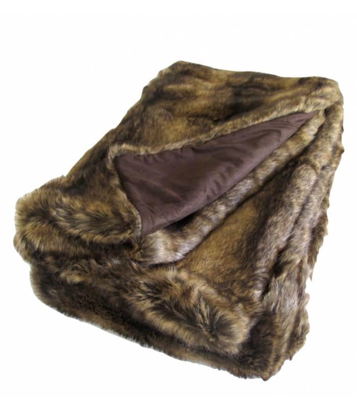 plaid fausse fourrure marron 150 x 170 cm plaid addict vente en ligne de plaids fausse fourrure