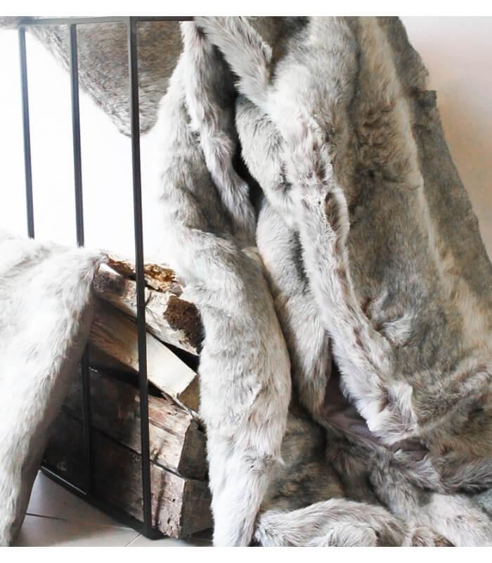 plaid imitation fourrure blanc gris. Black Bedroom Furniture Sets. Home Design Ideas