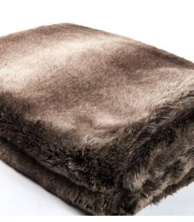 couvre lit fausse fourrure luxe gris 240 x 260 cm plaid. Black Bedroom Furniture Sets. Home Design Ideas