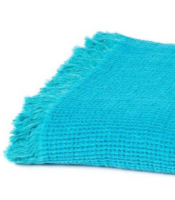 Plaid coton et lin bleu turquoise 130 x170 cm plaid - Plaid bleu turquoise ...