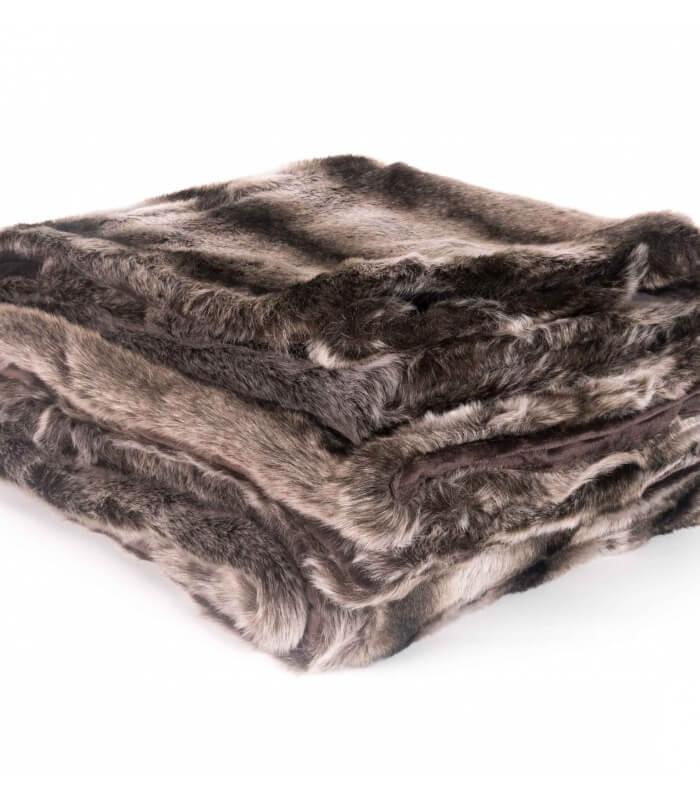 plaid fausse fourrure loup fonc 150 x 200 cm plaid. Black Bedroom Furniture Sets. Home Design Ideas