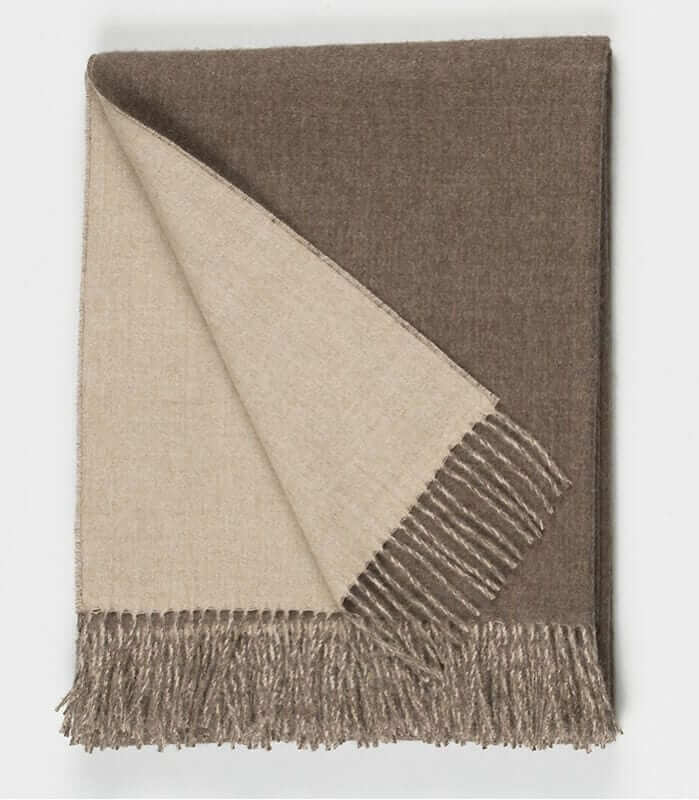 plaid laine alpaga luxe r versible brun plaid addict vente en ligne de plaids casa paola. Black Bedroom Furniture Sets. Home Design Ideas