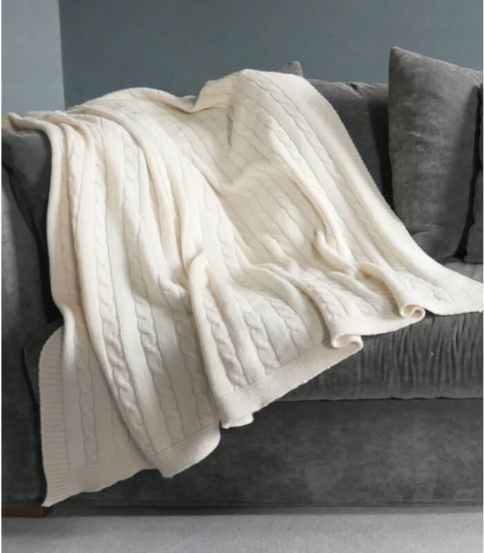 plaid hamptons laine blanc cass torsade plaid addict. Black Bedroom Furniture Sets. Home Design Ideas