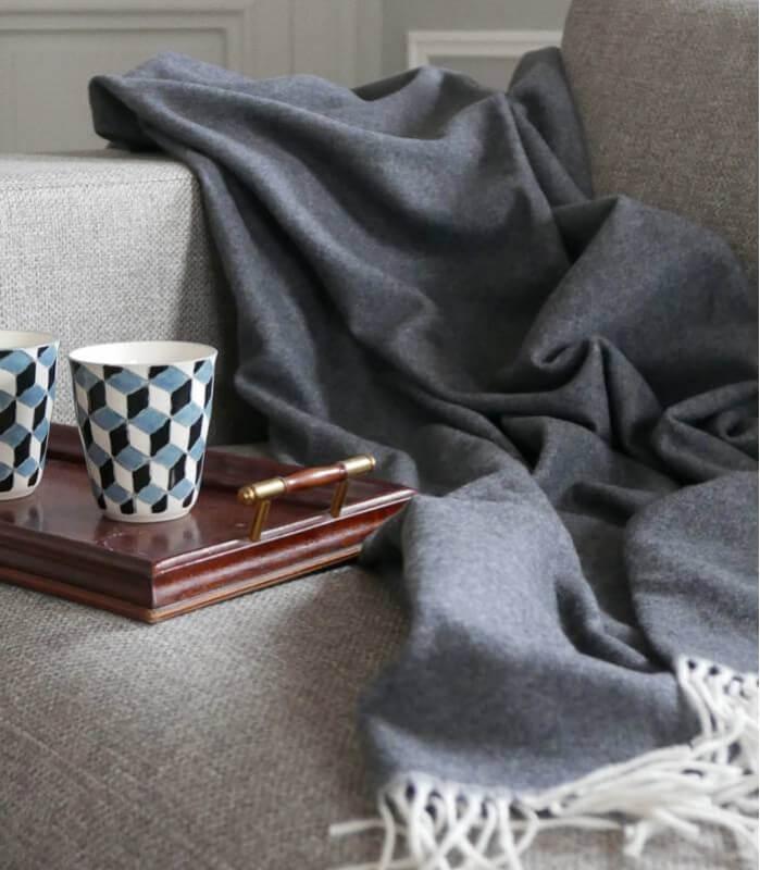 plaid cachemire et laine gris plaid addict vente en ligne de plaids cachemire. Black Bedroom Furniture Sets. Home Design Ideas