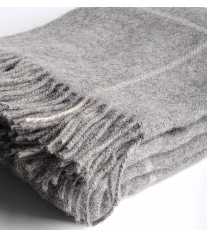 plaid naturel pure laine gris plaid addict vente en. Black Bedroom Furniture Sets. Home Design Ideas