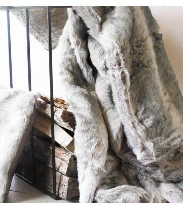 Plaid Fausse Fourrure Loup Gris 150 X 170 cm
