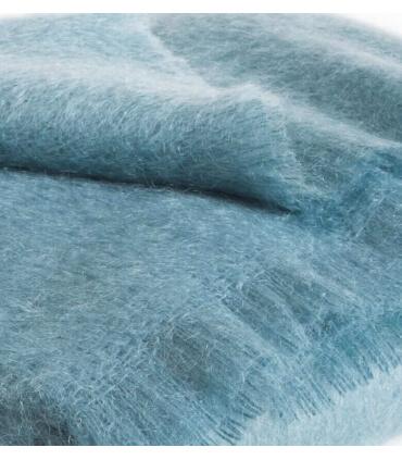 Plaid Mohair Bleu Vert Luxe 140 X 180 cm