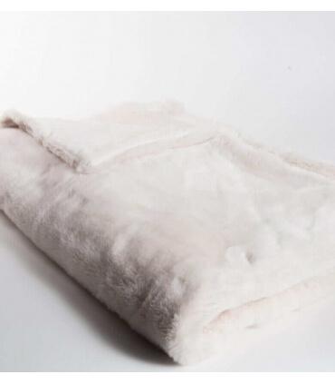 Plaid Fausse Fourrure LUXE Blanc cassé 130 X 180 cm