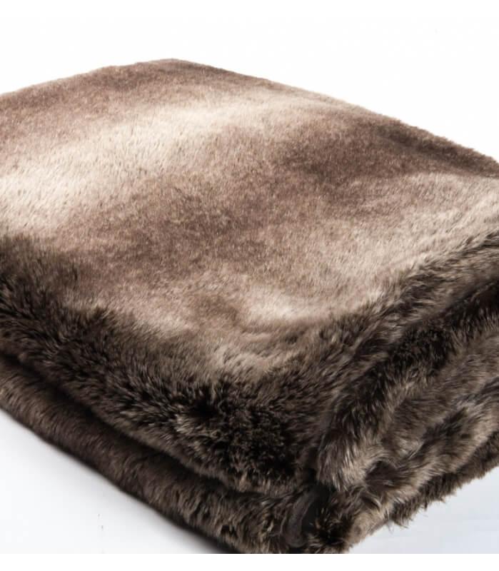 Plaid Fausse Fourrure LUXE Ours brun 130 X 180 cm