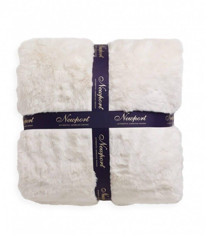 Couvre lit fausse fourrure luxe blanc cassé 240 x 260 cm : Plaid