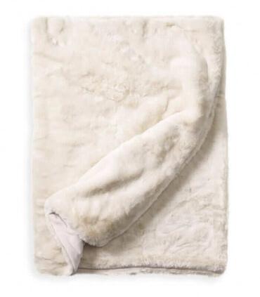 Couvre-lit Fausse Fourrure LUXE Blanc cassé 240 X 260 cm