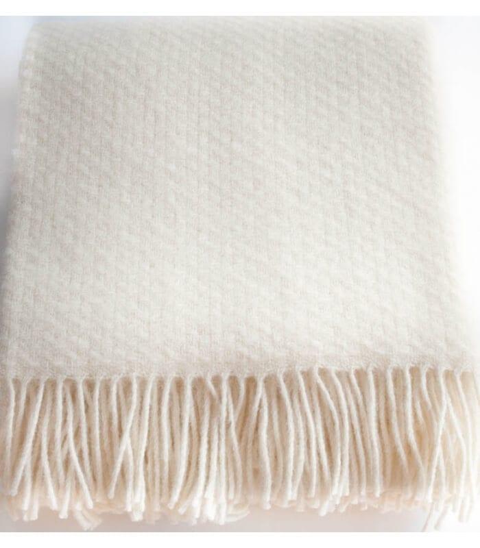plaid laine uni blanc cass wafer plaid addict vente en. Black Bedroom Furniture Sets. Home Design Ideas