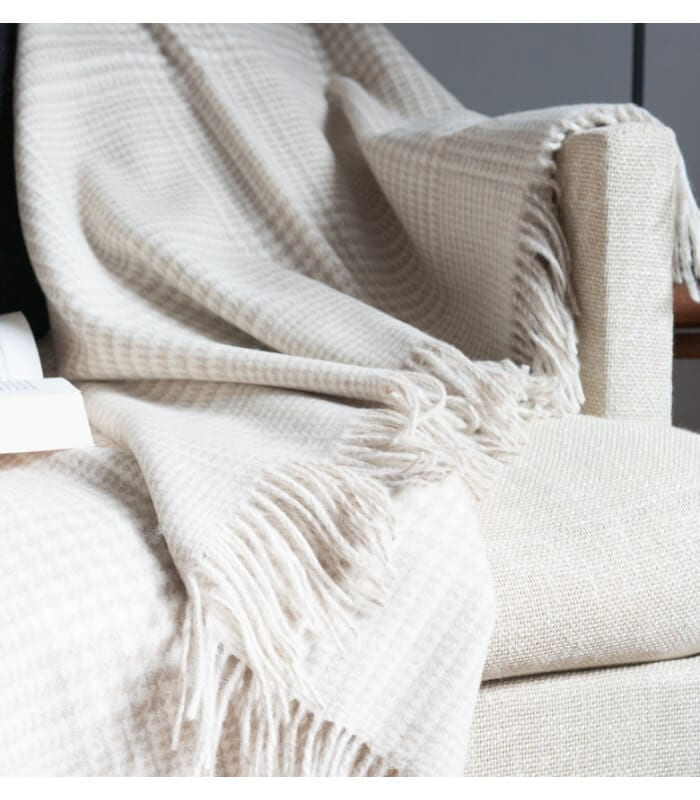 Plaid laine m rinos prince de galles sable plaid addict - Plaid en laine tricotee ...