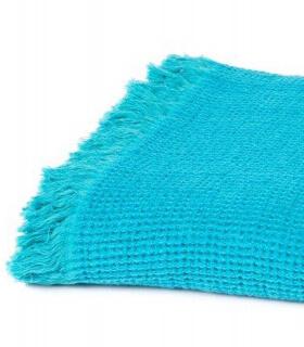 Plaid Coton et Lin Bleu Turquoise 130 X170 cm