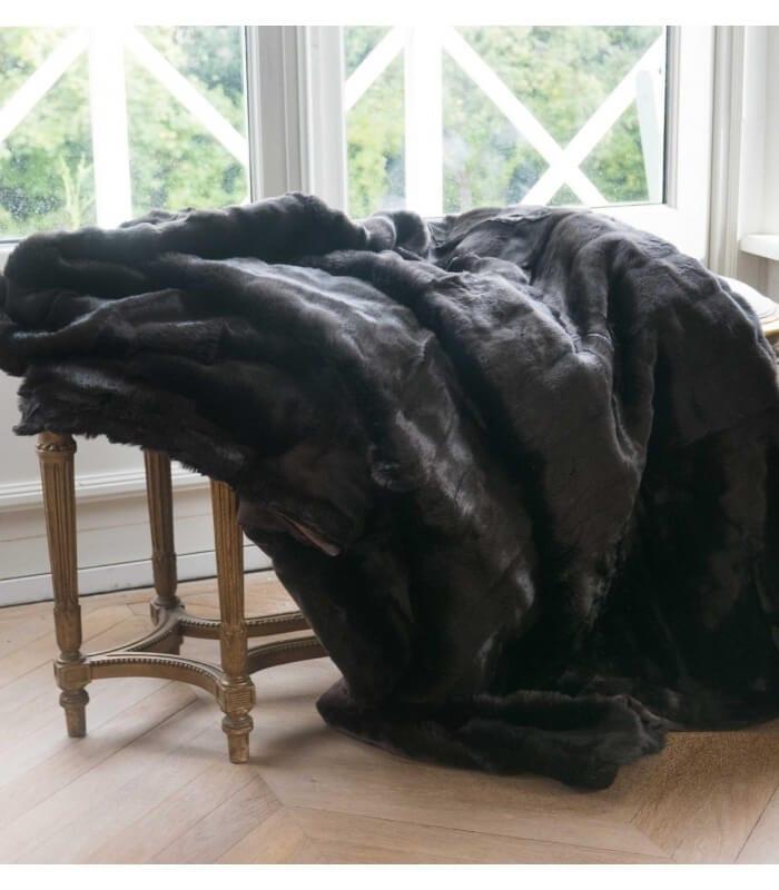 Plaid fausse fourrure luxe grizzly marron 150 x 200 cm - Plaids fausse fourrure pour canape ...