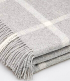 Plaid Laine Mérinos Carreaux Gris
