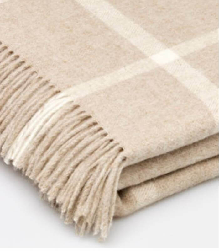 Plaid Laine Mérinos Carreaux Beige
