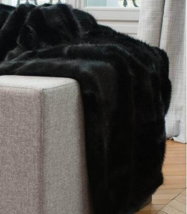 Plaid Fausse Fourrure Luxe Noir Bagheera