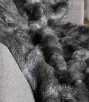 Plaid Fausse Fourrure Luxe Gris 150 X 200 cm