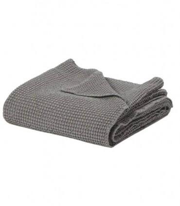 Jeté de canapé/ Couvre-lit 100% coton lavé gris 240 X 260 cm