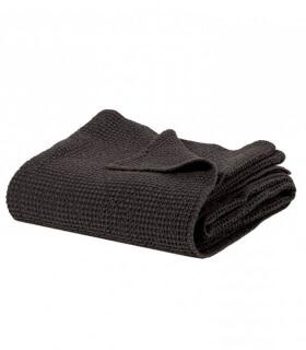 Jeté de canapé/ Couvre-lit 100% coton lavé Anthracite Carbone 240 X 260 cm
