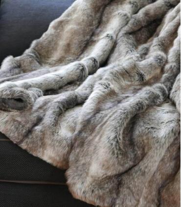 Plaid Fausse Fourrure Gris 150 X 170 cm