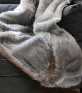 Plaid Fausse Fourrure Luxe Gris Chartreux 150 X 200 cm