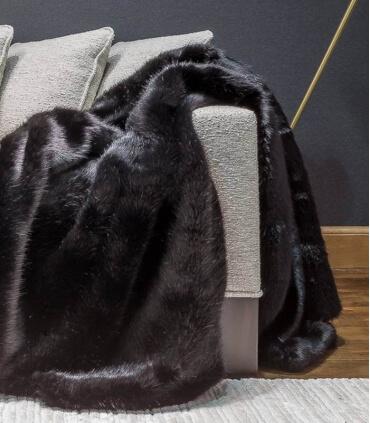 Couvre-lit Fausse Fourrure Luxe Noir Bagheera 250 X 250 cm