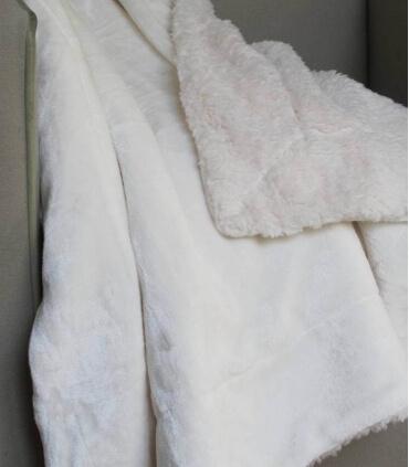 Plaid Cosy Ivoire Doublure Aspect Mouton 130 X 170 cm