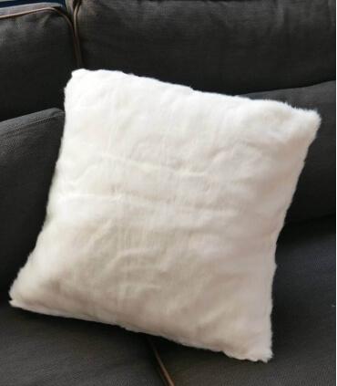 Coussin Fausse Fourrure Blanc 45 X 45 cm