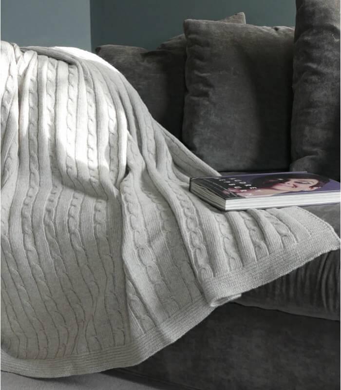 plaid hamptons gris laine torsad plaid addict vente en ligne de plaids plaid addict. Black Bedroom Furniture Sets. Home Design Ideas