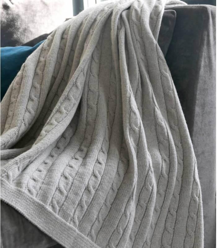 plaid hamptons gris laine torsad plaid addict vente en. Black Bedroom Furniture Sets. Home Design Ideas