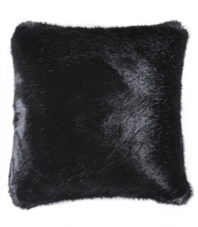 Coussins Fausse Fourrure Luxe Noirs Baghera 45 X 45 cm