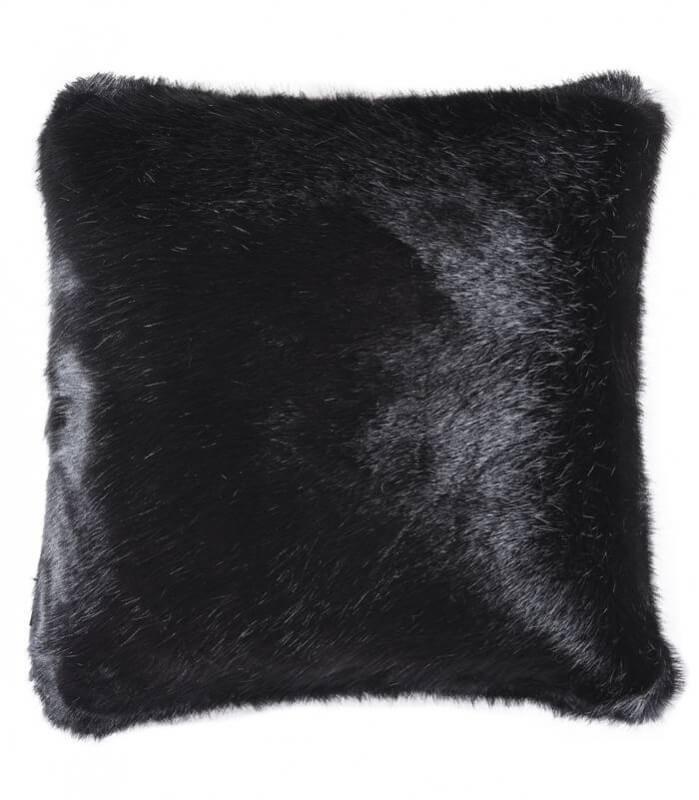 Coussins Fausse Fourrure Luxe Noirs Baghera 45 X 45 cm