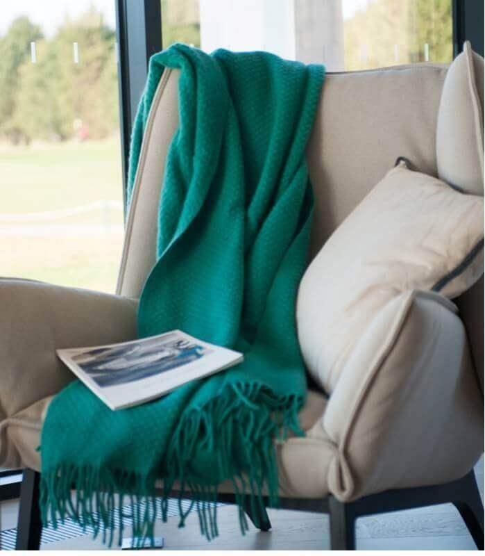Plaid Laine Uni Vert Émeraude 150X170