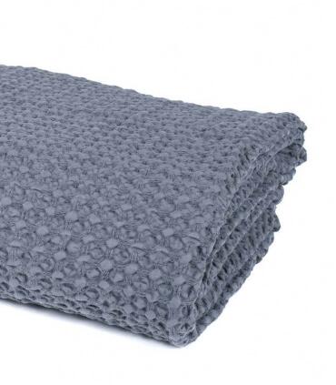 Jeté de canapé/ Couvre-lit Gris 100% coton lavé