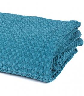 Jeté de canapé/ Couvre-lit Bleu Pétrole 100% coton