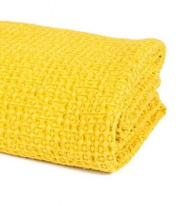 Jeté de canapé/ Couvre-lit Jaune 100% coton