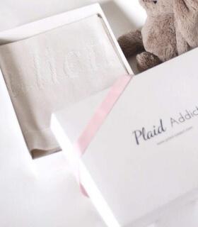 Plaid Bébé Luxe Sweet Dreams 100% Cachemire blanc cassé personnalisable