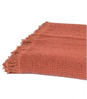 Plaid Coton et Lin Terre de Sienne 130X170 cm