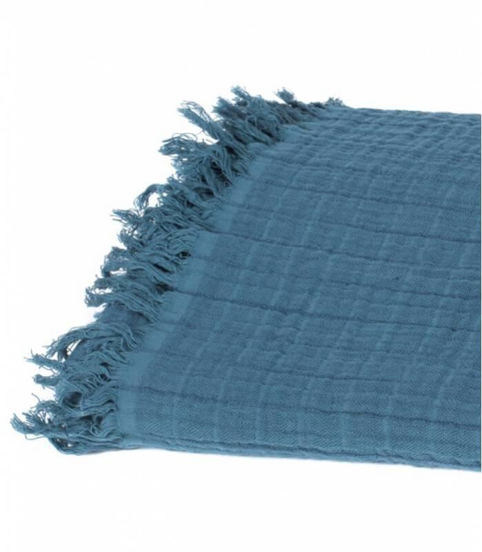 Plaid Coton et Lin Bleu Pétrole 130X170 cm