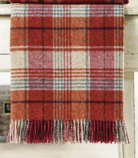 Plaid Pure Laine Écossais Huntingtower Brique