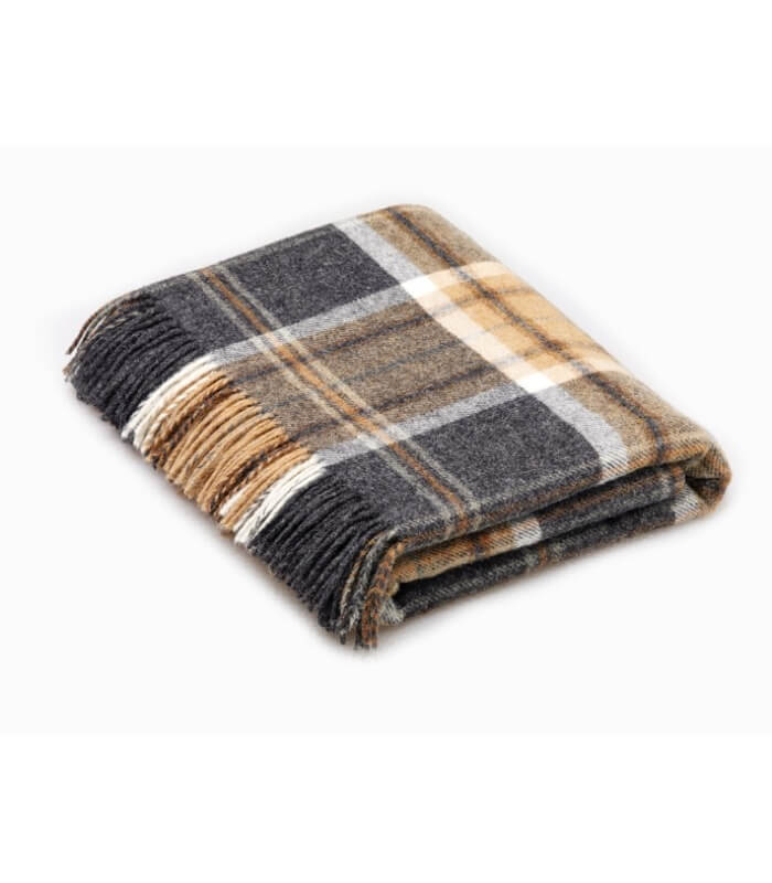 plaid pure laine cossais gris aysgarth plaid addict vente en ligne de plaids b at home. Black Bedroom Furniture Sets. Home Design Ideas