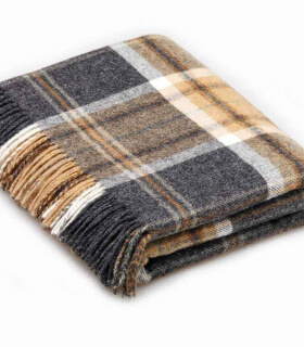 Plaid Pure Laine Écossais Gris Aysgarth