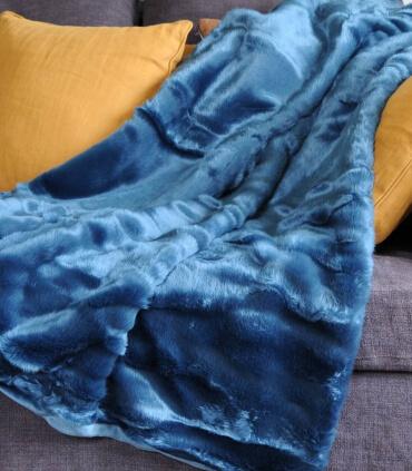 Plaid Fausse Fourrure Bleu 150X170cm