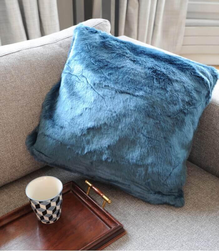 Coussin Fausse Fourrure Bleu 45X45cm