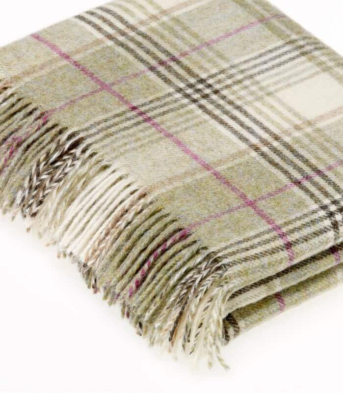 Plaid Pure Laine Écossais Vert Huntingtower