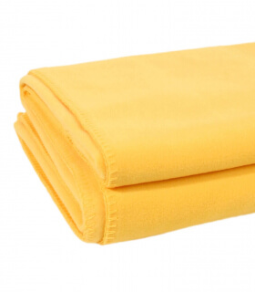 Couverture Polaire Luxe Jaune bouton d'or 220 X 240 cm