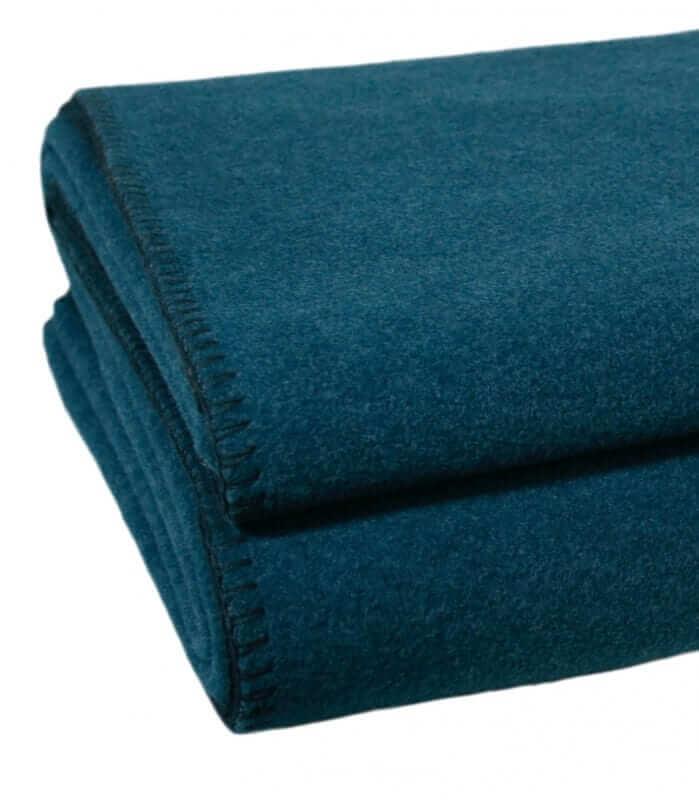 Plaid Polaire Luxe Bleu Canard 180 X 220 cm
